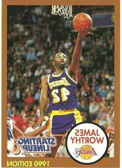 1990 James Worthy Los Angeles Lakers White Card Starting Lin