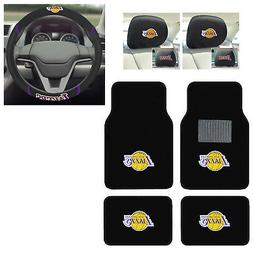 7pc NBA Los Angeles Lakers Floor Mats Steering Wheel Cover &
