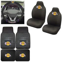 7pc Set NBA Los Angeles Lakers Seat Covers Floor Mats & Stee