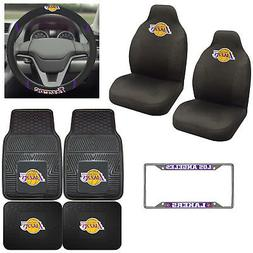 8pc Set NBA Los Angeles Lakers Seat Covers Floor Mats & Stee