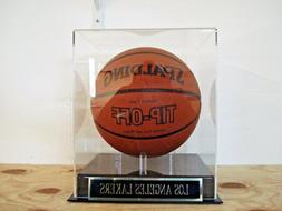 Basketball Display Case W/ A Los Angeles Lakers Engraved Nam
