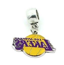 CHARM LA LOS ANGELES LAKERS BASKETBALL SLIDE PENDANT NECKLAC