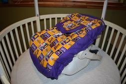 INFANT CAR SEAT COVER W/ LOS ANGELES LA LAKERS  FABRIC