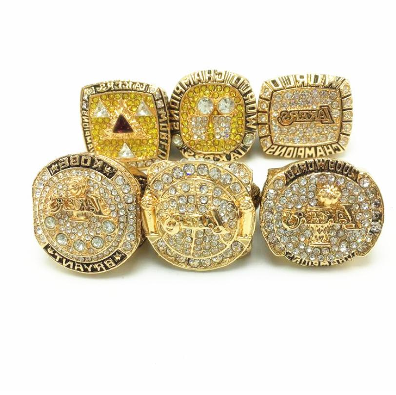 Angeles Lakers Championship Rings Set Wooden Fan