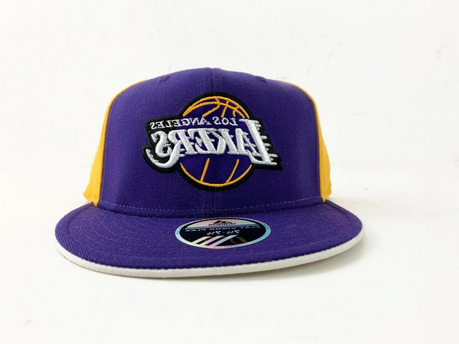 los angeles lakers flat visor flex fitted