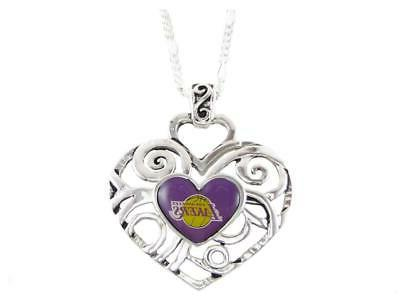 los angeles lakers silver heart pendant chain