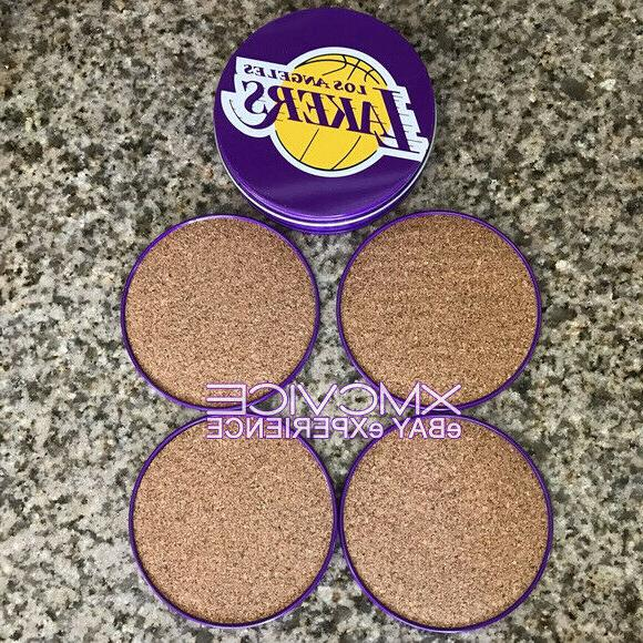 NEW OFFICIAL LOS LAKERS TIN WITH SET COASTERS