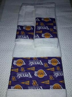 LA Lakers 3 Piece Bath Towel Set Handmade  GREAT GIFT!!!