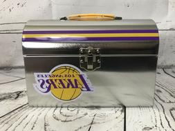 LA Los Angeles Lakers NBA Silver Tin Metal Aluminum Lunch Bo