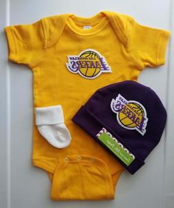 Lakers infant/baby 3 pc outfit boy Lakers baby gift Lakers i