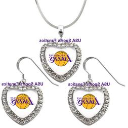 Los Angeles Lakers 925 Necklace / Earrings or Set Team Heart