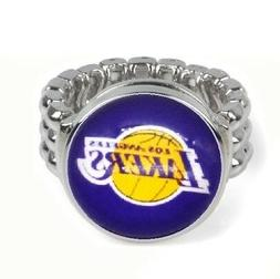 Los Angeles Lakers Basketball Silver Mens Womens Ring Fits A