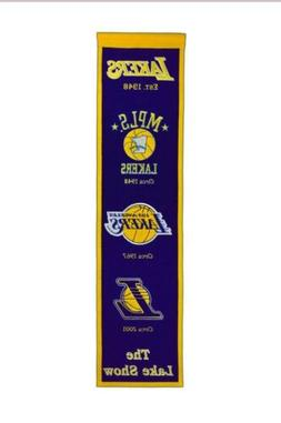 """LOS ANGELES LAKERS EMBROIDERED WOOL HERITAGE BANNER 8""""X32"""" W"""