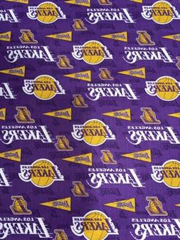 Los Angeles Lakers Fabric 1/4 Yard X 44inches Cotton Purple