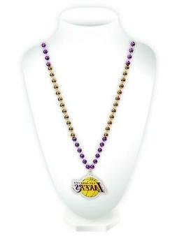Los Angeles Lakers Mardi Gras Beads with Medallion Necklace