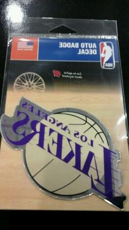 """LOS ANGELES LAKERS MIRRORED AUTO BADGE CAR EMBLEM DECAL 3""""×"""