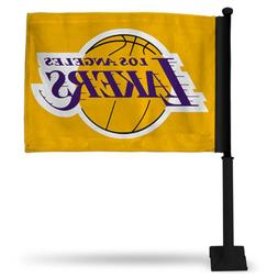 LOS ANGELES LAKERS NBA CAR FLAG BLACK POLE DOUBLE SIDED
