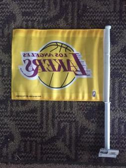 LOS ANGELES LAKERS NBA CAR FLAG  DOUBLE SIDED Yellow