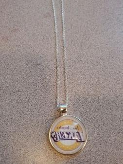 LOS ANGELES LAKERS NBA UNISEX SILVER PENDANT NECKLACE ADULT