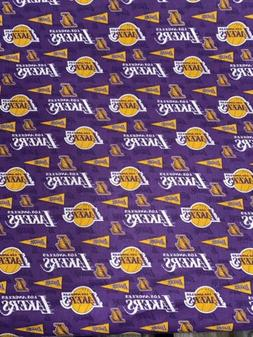 Los Angeles Lakers Purple Fabric Cotton 1/2 Yard X44 Inches
