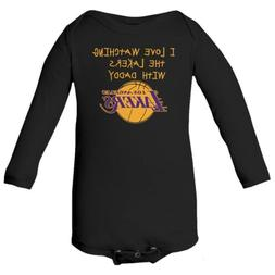 Los Angeles Lakers Watching With Daddy Baby Long Sleeve Body