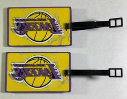 Lot of 2 Los Angeles Lakers Luggage Tags Travel Bag ID Golf
