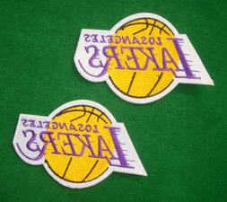 LOTS 2pcs Los Angeles Lakers  Iron On Embroidered Badge Patc