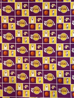 NBA Los Angeles Lakers Block Cotton Fabric - 4 sizes availab