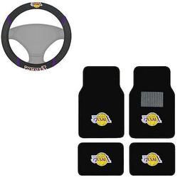 New 5pc NBA Los Angeles Lakers Car Truck Floor Mats & Steeri