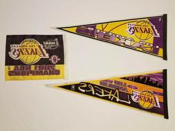 Nice 3pc Los Angeles Lakers NBA 2 Wool Blend Pennant and fla