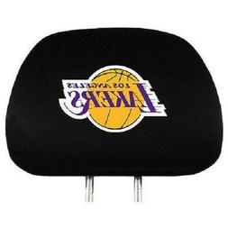 Pair of LA Los Angeles Lakers Head Rest Covers NEW! NBA Truc