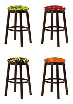 "SPORT THEME 24"" or 28"" ESPRESSO WOOD METAL BAR STOOL SPORT F"
