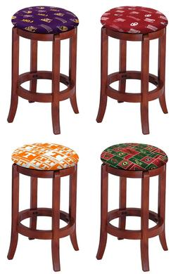 "SPORTS THEME 24"" CHERRY FINISH WOOD BAR STOOL SWIVEL SEAT KI"