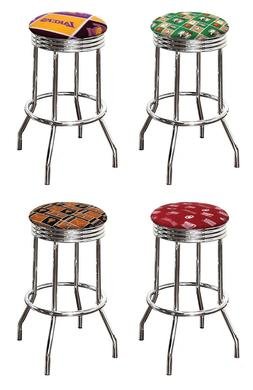 "SPORTS THEME 24"" or 29"" CHROME METAL BAR STOOL SWIVEL SEAT S"