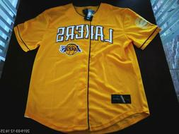 Yellow Licensed LOS ANGELES LAKERS 48 baseball style Jersey.